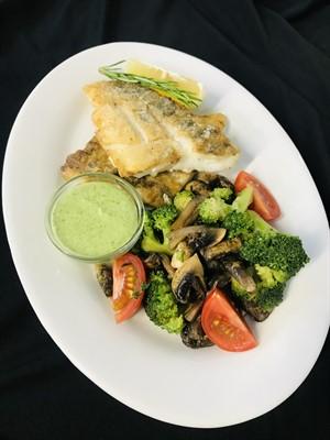 Филе судака с овощами  и шпинатным соусом 245г